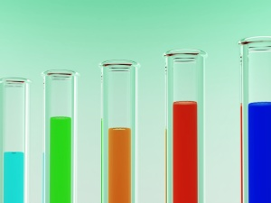 Various colored chemicals in test tubes